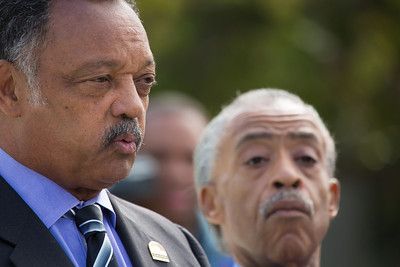 Rev. Jessie Jackson and Al Sharpton speak to reporters near the steps of Supreme Court on October 10, 2012 in Washington D.C. The Supreme Court had just heard a challenge to its long-standing ruling that race may be considered as a factor in the admissions process (affirmative action). Justices were debating the case of Fisher v. University of Texas. The outcome could have major implications for higher education. (Photo by Jeff Malet)