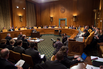 Under Secretary of Defense (Comptroller), Robert F. Hale (left at witness table);  Leon Panetta (center), Secretary of Defense; and Army General Martin E. Dempsey (right), Chairman, Joint Chiefs of Staff testify at a hearing of the Senate Budget Committee on the proposed fiscal 2013 budget request for the Department of Defense on Tuesday, February 28, 2012 on Capitol Hill in Washington D.C. (Photo by Jeff Malet)