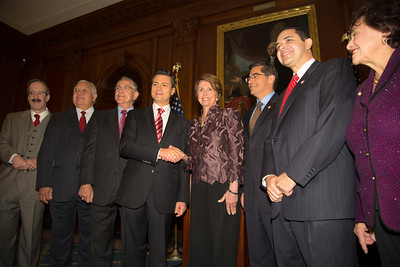House Democratic Leader Nancy Pelosi (D-CA) and members of the Congressional Hispanic Caucus greet Mexican President-Elect Enrique Pena Nieto (4th from left in photo). Pena Nieto delivered brief remarks in the Rayburn Room at the U.S. Capitol building on November 27, 2012 in Washington, D.C. Pena Nieto's July election victory marked the return to power of the former ruling Institutional Revolutionary Party (PRI) after a 12-year absence. Pena Nieto would also visit the White House and meet with President Barack Obama, just a few days before he takes office on December 1.  (Photo by Jeff Malet)