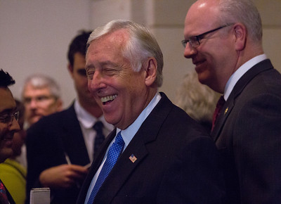 "A smiling Democratic Whip of the U.S. House of Representatives Steny Hoyer (D-MD) speaks to reporters after the conclusion of a closed-door meeting between the House Democratic caucus and Vice President Joe Biden on the ""fiscal cliff"" deal that was negotiated in the Senate on January 1, 2013 on Capitol Hill in Washington D.C..  Participating in the press conference were House Minority Leader Nancy Pelosi (D-CA), Joseph Crowley (D-NY), Xavier Becerra (D-CA) and Chirs Van Hollen (D-MD). Pelosi and her fellow party leaders demanded an immediate up or down vote in the House on the matter.  (Photo by Jeff Malet)."