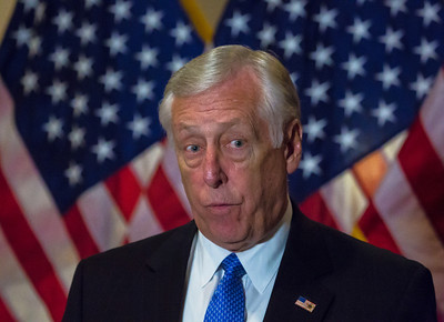 "Democratic Whip of the U.S. House of Representatives Steny Hoyer (D-MD) speaks to reporters after the conclusion of a closed-door meeting between the House Democratic caucus and Vice President Joe Biden on the ""fiscal cliff"" deal that was negotiated in the Senate on January 1, 2013 on Capitol Hill in Washington D.C..  Participating in the press conference were House Minority Leader Nancy Pelosi (D-CA), Joseph Crowley (D-NY), Xavier Becerra (D-CA) and Chirs Van Hollen (D-MD). Pelosi and her fellow party leaders demanded an immediate up or down vote in the House on the matter.  (Photo by Jeff Malet)."