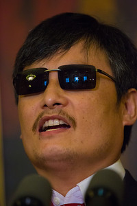 Congressional leaders welcomed blind dissident Chinese lawyer Chen Guangcheng to Capitol Hill in Washington D.C. on August 1, 2012,  Chen's case sparked a diplomatic crisis between Washington and Beijing this past spring. In photo, Chen, who was arrested in 2005 for condemning China's one-child per couple law, speaking through an interpreter, indicated that change toward human rights in China is inevitable. (Photo by Jeff Malet)
