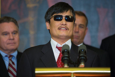 Congressional leaders welcomed blind dissident Chinese lawyer Chen Guangcheng to Capitol Hill in Washington D.C. on August 1, 2012,  Chen's case sparked a diplomatic crisis between Washington and Beijing this past spring. In photo, Chen, who was arrested in 2005 for condemning China's one-child per couple law, speaking through an interpreter, indicated that change toward more human rights in China is inevitable. (Photo by Jeff Malet)