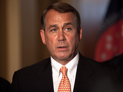 """After his meeting with President Obama and Senate Majority Leader Harry Reid (D-NV), Speaker John Boehner (R-OH) said there was still no agreement with Senate Democrats on the current budget, at a press conference on Capitol Hill in Washington DC, on Tuesday April 5, 2011 . Boehner said the House will not be put in a box and forced to choose between two options that are bad for the country. He also implied that cultural issues relating to abortion policy and climate change are """" as important to many of our members as the spending cuts themselves.""""   With a stopgap government funding bill set to expire Friday at midnight, a government shutdown looms. (Photo by Jeff Malet)"""