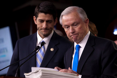 Sen. Jeff Sessions (R-AL) (right), the ranking Republican on the Senate Budget Committee, speaks in support of House Budget Chairman Paul Ryan's (R-WI) (left) 2012 budget proposal during a news conference on April 5, 2011 on Capitol Hill in Washington, DC. Ryan's plan, which the GOP calls the Path to Prosperity includes significant changes to Medicare and Medicaid, and expects to cut $6.2 trillion in government spending over the next 10 years. (Photo by Jeff Malet)