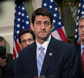 "House Budget Chairman Paul Ryan of Wisconsin introduced the Republicans' 2012 budget proposal during a news conference on April 5, 2011 on Capitol Hill in Washington, DC. that plans to cut $6.2 trillion in government spending over the next 10 years. Ryan's plan, which the GOP calls the ""Path to Prosperity"" includes significant changes to Medicare and Medicaid, government subsidized healthcare programs. (Photo by Jeff Malet)"