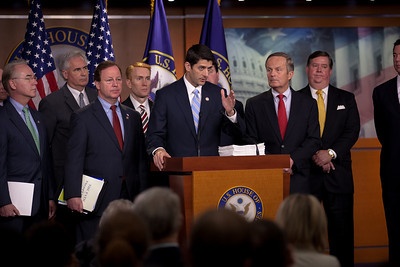 House Budget Chairman Paul Ryan of Wisconsin, backed by a group of Republican lawmakers, introduced the Republicans' 2012 budget proposal during a news conference on April 5, 2011 on Capitol Hill in Washington, DC. that plans to cut $6.2 trillion in government spending over the next 10 years. Ryan's plan, which the GOP calls the Path to Prosperity includes significant changes to Medicare and Medicaid, government subsidized healthcare programs. (Photo by Jeff Malet)