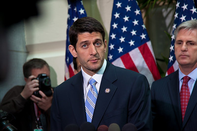 """House Budget Chairman Paul Ryan of Wisconsin introduced the Republicans' 2012 budget proposal during a news conference on April 5, 2011 on Capitol Hill in Washington, DC. that plans to cut $6.2 trillion in government spending over the next 10 years. Ryan's plan, which the GOP calls the """"Path to Prosperity"""" includes significant changes to Medicare and Medicaid, government subsidized healthcare programs. (Photo by Jeff Malet)"""