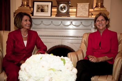 Speaker Nancy Pelosi meets with Elizabeth Warren, Assistant to the President and Special Advisor to the Secretary of the Treasury on the Consumer Financial Protection Bureau  in the Capitol in Washington DC on September 29, 2010. (Photo by Jeff Malet)