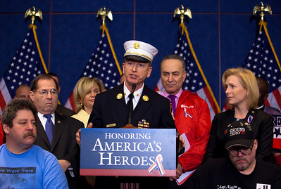 New York Deputy Chief Richard Alles of the Uniformed Fire Officers Assn. and other First Responders to the World Trade Center on September 11, 2001 joined Congressional Democrats for a news conference urging the Senate to pass a bill that would pay for their medical needs. Congressional members participating were Senators Chuck Schumer (D-NY), Kirsten Gillibrand (D-NY), Robert Menendez (D-NJ) and Frank Lautenberg (D-NJ) as well as House Representatives Carolyn Maloney (D-NY) and Jerrold Nadler (D-NY). December 21, 2010 in Washington DC. In the final vote of the 111th Congress the next day, House lawmakers overwhelmingly passed the James Zadroga 9/11 Health and Compensation Act. (Photo by Jeff Malet)