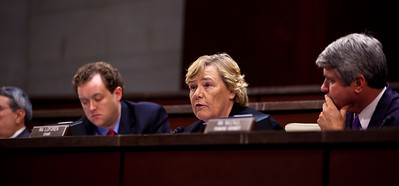 A House Ethics panel charged Rep. Charles Rangel (D-NY) with 13 counts of violating House ethics rules, placing the Democrat's 40-year political career in jeopardy. Chairman Zoe Lofgren (D-CA) pictured here with ranking Adjudicatory Subcommittee member Michael McCaul (R-TX), made clear that she wanted the committee to be unanimous, leaving little chance for agreement without Rangel capitulating on virtually all counts. On July 29, 2010 on Capitol Hill in Washington, DC. (Photo by Jeff Malet)