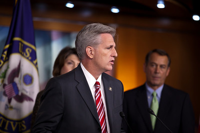 """Rep. Kevin McCarthy (R-CA) has the microphone during a Republican Leadership press conference on Capitol Hill in Washington DC on September 29, 2010. Participants included - Republican Leader John Boehner (R-OH),  Republican Conference Chairman Mike Pence (R-IN), Whip Eric Cantor (R-VA), Conference Vice Chair, Cathy McMorris Rodgers (R-WA) and Rep. Lynn Jenkins (R-KS).  Republicans spoke again of their """"Pledge to America"""" and the need to extend the Bush tax cuts. (Photo by Jeff Malet)"""