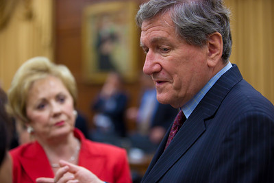 Special Representative to Afghanistan and Pakistan, Richard Holbrooke speaks to Rep. Kay Granger (R-TX) subsequent to testimony before the House Appropriations Committee on United States investment in Afghanistan on Wednesday, July 28, 2010 on Capitol Hill in Washington, DC.  (Photo by Jeff Malet)