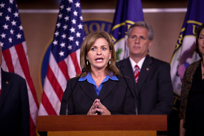 "Rep. Lynn Jenkins (R-KS)  has the microphone during a Republican Leadership press conference on Capitol Hill in Washington DC on September 29, 2010. Participants included - Republican Leader John Boehner (R-OH),  Republican Conference Chairman Mike Pence (R-IN), Whip Eric Cantor (R-VA), Conference Vice Chair, Cathy McMorris Rodgers (R-WA) and Rep. Kevin McCarthy (R-CA).  Republicans spoke again of their ""Pledge to America"" and the need to extend the Bush tax cuts. (Photo by Jeff Malet)"