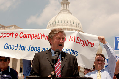 Rep. John Tierney (D-MA) speaks at a rally for the funding of the GE/Rolls-Royce F136 Engine for the Joint Strike Fighter on Wednesday, July 28, 2010 on Capitol Hill in Washington, DC. The General Electric/Rolls-Royce F136 is an advanced turbofan engine being developed by General Electric and Rolls-Royce plc specifically for the F-35 Lightning II. (Photo by Jeff Malet)