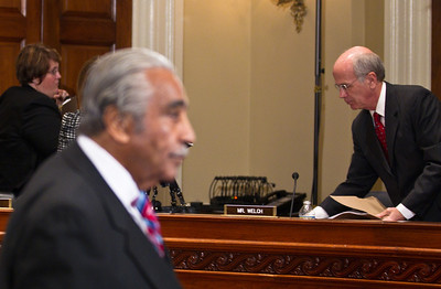 Rep. Charles Rangel (D-NY) abruptly walks out of his ethics trial after the House Ethics Committee refused to delay the proceedings. Rep. Peter Welch (D-VT) is seen in rear gathering his papers. Rangel argued in his opening statement that he did not have enough time to find new legal representation. Rangel faces charges relating to13 counts of fundraising and financial conduct that allegedly violated House rules. The trial took place in the Longworth House Office Building on Capitol Hill  in Washington DC on November 15, 2010. (Photo by Jeff Malet)