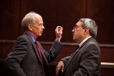Reps. Peter Welch (D-VT) and DK Butterfield (D-NC) chat. They were members of a House Ethics panel that had just charged Rep. Charles Rangel (D-NY)  with 13 counts of violating House ethics rules, placing the Democrat's 40-year political career in jeopardy. On July 29, 2010 on Capitol Hill in Washington, DC. (Photo by Jeff Malet)