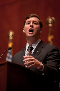 Rep. Rep. Patrick Murphy (D-PA) speaks prior to the signing of the repeal of Don't Ask, Don't Tell by Speaker Nancy Pelosi (D-CA) at a lively ceremony on Capitol Hill on Tuesday December 21, 2010. Murphy had introduced the stand-alone bill repealing the gay ban in the House. (Photo by Jeff Malet)