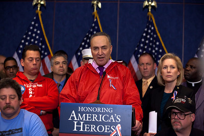 New York Senator Chuck Schumer speaks. First Responders to the World Trade Center on September 11, 2001 joined Congressional Democrats for a news conference urging the Senate to pass a bill that would pay for their medical needs. Congressional members participating were Senators Chuck Schumer (D-NY), Kirsten Gillibrand (D-NY), Robert Menendez (D-NJ) and Frank Lautenberg (D-NJ) as well as House Representatives Carolyn Maloney (D-NY) and Jerrold Nadler (D-NY). December 21, 2010 in Washington DC. In the final vote of the 111th Congress the next day, House lawmakers overwhelmingly passed the James Zadroga 9/11 Health and Compensation Act. (Photo by Jeff Malet)