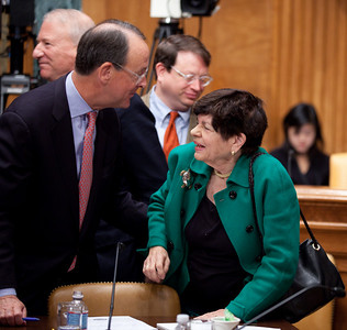 "Erskine Bowles, a Democrat who was White House chief of staff for President Clinton was co-chair of President Obama's Debt Reduction Commission. Here with fellow commission member Alice Rivlin, a former vice chair of the Federal Reserve. A report issued by the commission to find ways to pull the United States out its massive debt failed to win the 14 votes required to bring it up for a vote in Congress. The commission's final report, titled ""The Moment of Truth."" won the backing of 11 out of 18 members - three short of the supermajority required under the executive order that Obama signed in February when he created the panel. This final meeting of the panel took place on Capitol Hill in Washington DC, Friday, Dec. 3, 2010. (Photo by Jeff Malet)"