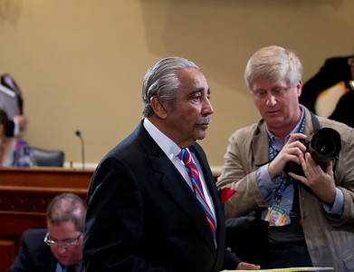 Rep. Charles Rangel (D-NY) abruptly walks out of his ethics trial after the House Ethics Committee refused to delay the proceedings. Rangel argued in his opening statement that he did not have enough time to find new legal representation. Rangel faces charges relating to13 counts of fundraising and financial conduct that allegedly violated House rules. The trial took place in the Longworth House Office Building on Capitol Hill  in Washington DC on November 15, 2010. (Photo by Jeff Malet)
