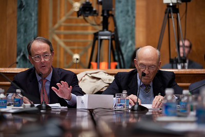 "Alan Simpson and Erskine Bowles at the conclusion of the final meeting of President Obama's Debt Reduction Commission. Both were co-chairs. A report issued by the commission to find ways to pull the United States out its massive debt failed to win the 14 votes required to bring it up for a vote in Congress. The commission's final report, titled ""The Moment of Truth."" won the backing of 11 out of 18 members - three short of the supermajority required under the executive order that Obama signed in February when he created the panel. This final meeting of the panel took place on Capitol Hill in Washington DC, Friday, Dec. 3, 2010. Alan Simpson is a former Republican senator from Wyoming. Erskine Bowles is a Democrat who was White House chief of staff for President Clinton. (Photo by Jeff Malet)"