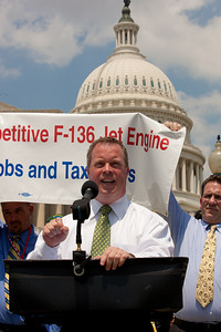 Rep. Steve Driehaus (D-OH) speaks at a rally for the funding of the GE/Rolls-Royce F136 Engine for the Joint Strike Fighter on Wednesday, July 28, 2010 on Capitol Hill in Washington, DC. The General Electric/Rolls-Royce F136 is an advanced turbofan engine being developed by General Electric and Rolls-Royce plc specifically for the F-35 Lightning II. (Photo by Jeff Malet)
