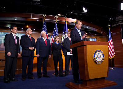 "Republican Leader John Boehner (R-OH) has the microphone during a Republican Leadership press conference on Capitol Hill in Washington DC on September 29, 2010. Participants included - Republican Conference Chairman Mike Pence (R-IN) , Republican Whip Eric Cantor (R-VA) , Conference Vice Chair, Cathy McMorris Rodgers (R-WA), Rep. Kevin McCarthy (R-CA) and Rep. Lynn Jenkins (R-KS).  Republicans spoke again of their ""Pledge to America"" and the need to extend the Bush tax cuts. (Photo by Jeff Malet)"