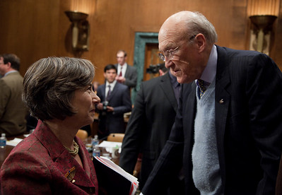 "Alan Simpson, a former Republican senator from Wyoming, was co-chair of President Obama's Debt Reduction Commission. Here talking to Rep. Jan Schakowsky (D-IL) at the conclusion of the final meeting. A report issued by the commission to find ways to pull the United States out its massive debt failed to win the 14 votes required to bring it up for a vote in Congress. The commission's final report, titled ""The Moment of Truth."" won the backing of 11 out of 18 members - three short of the supermajority required under the executive order that Obama signed in February when he created the panel. This final meeting of the panel took place on Capitol Hill in Washington DC, Friday, Dec. 3, 2010. (Photo by Jeff Malet)"