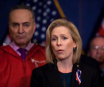 New York Senator Kirsten Gillibrand speaks. First Responders to the World Trade Center on September 11, 2001 joined Congressional Democrats for a news conference urging the Senate to pass a bill that would pay for their medical needs. Congressional members participating were Senators Chuck Schumer (D-NY), Kirsten Gillibrand (D-NY), Robert Menendez (D-NJ) and Frank Lautenberg (D-NJ) as well as House Representatives Carolyn Maloney (D-NY) and Jerrold Nadler (D-NY). December 21, 2010 in Washington DC. In the final vote of the 111th Congress the next day, House lawmakers overwhelmingly passed the James Zadroga 9/11 Health and Compensation Act. (Photo by Jeff Malet)