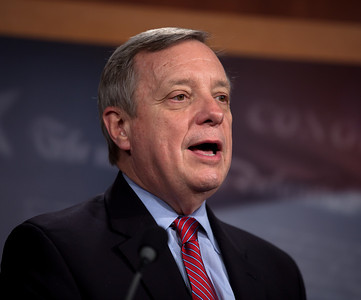 A grim Sen. Dick Durbin (D-IL) speaks at a press conference following the  failure of the DREAM act cloture vote. For ten years, Durbin has been a chief sponsor of the act. President Barack Obama and Democratic supporters failed to gather the 60 votes necessary to cut off a Republican filibuster and move the so-called DREAM Act to the Senate floor for passage. The Development, Relief and Education for Alien Minors Act (the DREAM Act) would give hundreds of thousands of young illegal immigrants a path to legal status if they enrolled in college or joined the armed forces. The Senate vote to cut off debate failed, 55-41, essentially killing the legislation for this year. Also present Senate Majority Leader Harry Reid (D-NV), Sen. Robert Menendez (D-NJ), Sen. Barbara Boxer (D-CA), Sen. Michael Bennet (D-CO). This took place on a rare Saturday session in the US Capitol in Washington DC on December 18, 2010. (Photo by Jeff Malet)