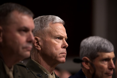 Marine Corps Commandant Gen. James Amos testifies on Capitol Hill in Washington DC on Friday, Dec. 3, 2010, before the Senate Armed Service Committee. The chiefs of the Army, Marines and Air Force warned that implementing a repeal of the policy banning gays from serving openly in the military would be more difficult than a Pentagon study has suggested, challenging the assessments of other top military officials in the administration. (Photo by Jeff Malet)