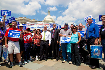 Rep. Steve Driehaus (D-OH) and Rep. John Tierney (D-MA) speak at a rally for the funding of the GE/Rolls-Royce F136 Engine for the Joint Strike Fighter on Wednesday, July 28, 2010 on Capitol Hill in Washington, DC. The General Electric/Rolls-Royce F136 is an advanced turbofan engine being developed by General Electric and Rolls-Royce plc specifically for the F-35 Lightning II. (Photo by Jeff Malet)