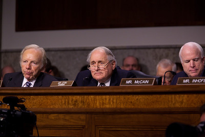 "Sen. Joe Lieberman (I-Conn.), Sen. Carl Levin (D., Mich.),and Sen. John McCain (R., Ariz.) question Defense Department general counsel Jeh Johnson before the Senate Armed Services Committee. Joint Chiefs Chairman Adm. Michael Mullen and Defense Secretary of Defense Robert Gates also testify to discuss the Defense Department's report on the effect of repealing the 1993 ""Don't Ask, Don't Tell"" law that bans gays from serving openly in the military. On Capitol Hill in Washington DC, Wednesday, Dec. 2, 2010. (Photo by Jeff Malet)"