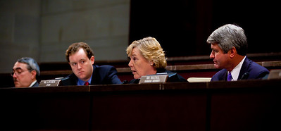 A House Ethics panel charged Rep. Charles Rangel (D-NY) with 13 counts of violating House ethics rules, placing the Democrat's 40-year political career in jeopardy. Chairman Zoe Lofgren (D-CA) pictured here with ranking Adjudicatory Subcommittee member Michael McCaul (R-TX on the right), made clear that she wanted the committee to be unanimous, leaving little chance for agreement without Rangel capitulating on virtually all counts. On July 29, 2010 on Capitol Hill in Washington, DC. (Photo by Jeff Malet)