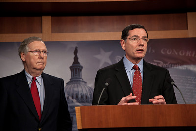 Senator John Barrasso (R-WY) and Senate Minority Leader Mitch McConnell (R-KY) take questions from the press. Moments earlier in a rare Saturday session, the Senate rejected President O'bama's proposal to end the Bush-era tax breaks on income above $250,000 for couples and $200,000 for individuals. The Senate also rejected an alternative proposal, championed by Sen. Chuck Schumer (D-NY) to end the tax breaks only on income exceeding $1 million. On Capitol Hill in Washington DC, Dec. 4, 2010.  (Photo by Jeff Malet)