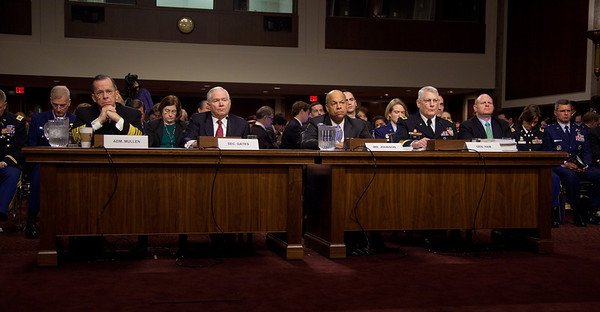 "Joint Chiefs Chairman Adm. Michael Mullen and Defense Secretary of Defense Robert Gates testify before the Senate Armed Services Committee to discuss the Defense Department's report on the effect of repealing the 1993 ""Don't Ask, Don't Tell"" law that bans gays from serving openly in the military. On Capitol Hill in Washington DC, Wednesday, Dec. 2, 2010. Also testifying, Defense Department general counsel Jeh Johnson; and Gen. Carter Ham, commander of the United States Army Europe and co-chairman of the Comprehensive Review Working Group  (Photo by Jeff Malet)"