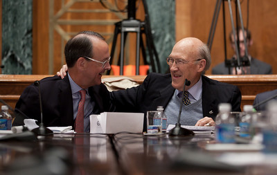 "Alan Simpson embraces Erskine Bowles at the conclusion of the final meeting of President Obama's Debt Reduction Commission. Both were co-chairs. A report issued by the commission to find ways to pull the United States out its massive debt failed to win the 14 votes required to bring it up for a vote in Congress. The commission's final report, titled ""The Moment of Truth."" won the backing of 11 out of 18 members - three short of the supermajority required under the executive order that Obama signed in February when he created the panel. This final meeting of the panel took place on Capitol Hill in Washington DC, Friday, Dec. 3, 2010. Alan Simpson is a former Republican senator from Wyoming. Erskine Bowles is a Democrat who was White House chief of staff for President Clinton. (Photo by Jeff Malet)"