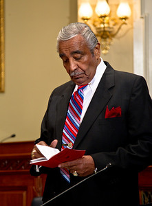 Rep. Charles Rangel (D-NY) prepares for the start of his ethics trial. He later abruptly walked out after the House Ethics committee refused to delay the proceedings. Rangel argued in his opening statement that he did not have enough time to find new legal representation. Rangel faces charges relating to13 counts of fundraising and financial conduct that allegedly violated House rules. The trial took place in the Longworth House Office Building on Capitol Hill  in Washington DC on November 15, 2010. (Photo by Jeff Malet)
