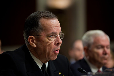 "Joint Chiefs Chairman Adm. Michael Mullen testifies before the Senate Armed Services Committee to discuss the Defense Department's report on the effect of repealing the 1993 ""Don't Ask, Don't Tell"" law that bans gays from serving openly in the military. On Capitol Hill in Washington DC, Wednesday, Dec. 2, 2010. (Photo by Jeff Malet)"