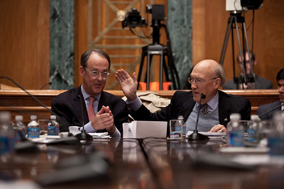 "Alan Simpson puts his arm around Erskine Bowles at the conclusion of the final meeting of President Obama's Debt Reduction Commission. Both were co-chairs. A report issued by the commission to find ways to pull the United States out its massive debt failed to win the 14 votes required to bring it up for a vote in Congress. The commission's final report, titled ""The Moment of Truth."" won the backing of 11 out of 18 members - three short of the supermajority required under the executive order that Obama signed in February when he created the panel. This final meeting of the panel took place on Capitol Hill in Washington DC, Friday, Dec. 3, 2010. Alan Simpson is a former Republican senator from Wyoming. Erskine Bowles is a Democrat who was White House chief of staff for President Clinton. (Photo by Jeff Malet)"
