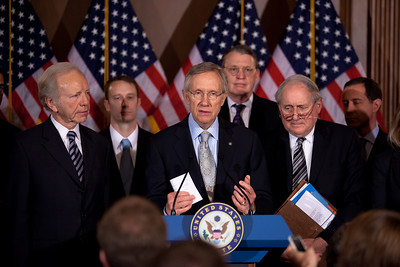 Senate Majority Leader Harry Reid (D-NV), Sen. Joe Lieberman (I-CT) and Sen. Carl Levin (D., MI) appear at a press conference with gay rights activists. The Senate just took a big step toward ending the military's ban on openly gay service members. By a vote of 63 to 33, the Senate voted to end debate on a bill repealing the military's Don't Ask, Don't Tell policy, opening the door for a final Senate vote on the standalone repeal bill passed earlier by the House. Later in the afternoon, by a vote of 65 to 31 the Senate voted to repeal the military's Don't Ask, Don't Tell policy. It was a rare Saturday session in the US Capitol in Washington DC on December 18, 2010. (Photo by Jeff Malet)