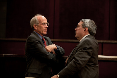 Reps. Peter Welch (D-VT) and DK Butterfield (D-NC) chat. They were members of a House Ethics panel that had just charged Rep. Charles Rangel with 13 counts of violating House ethics rules, placing the Democrat's 40-year political career in jeopardy. On July 29, 2010 on Capitol Hill in Washington, DC. (Photo by Jeff Malet)