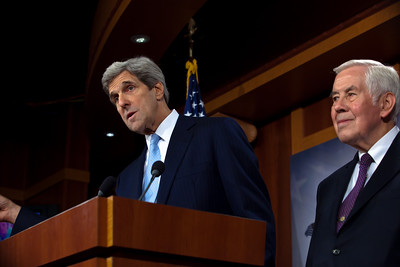 Sen. John Kerry (D-MA) and Sen. Richard Lugar (R-IN) answer reporters questions just minutes after the Senate ratified the New Strategic Arms Reduction Treaty, known as New START, by a vote of 71 to 26, easily clearing the threshold of two-thirds of senators present as required by the Constitution for treaty ratification.  Kerry and Lugar are the chairman and ranking member of the Senate Committee on Foreign Relations. Thirteen Republicans joined all of the Senate's Democrats in voting for ratification in Washington DC on December 22, 2010. (Photo by Jeff Malet)