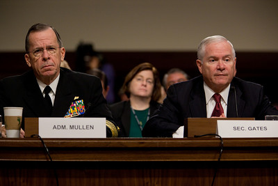 "Joint Chiefs Chairman Adm. Michael Mullen and Defense Secretary of Defense Robert Gates testify before the Senate Armed Services Committee to discuss the Defense Department's report on the effect of repealing the 1993 ""Don't Ask, Don't Tell"" law that bans gays from serving openly in the military. On Capitol Hill in Washington DC, Wednesday, Dec. 2, 2010. (Photo by Jeff Malet)"
