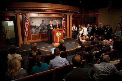 US Senators Carl Levin (D-MI) and Jack Reed (D-RI) talk to reporters following a vote on whether to start debate on the National Defense Authorization Act at the US Capitol in Washington DC on Sept. 21, 2010. Republicans had just blocked a start of debate, objecting to a provision that would repeal Don't Ask, Don't Tell, and the DREAM Act allowing illegal immigrant children the chance for a college education. The vote was 56 to 43, with 60 votes needed to break the filibuster. (Photo by Jeff Malet).