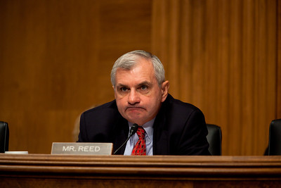 "Senator Jack Reed (D-RI) questions Governor Ed Rendell (D-PA) during testimony before the United States Senate Committee on Banking, Housing and Urban Affairs on September 21, 2010 on Capitol Hill in Washington DC. The hearing was titled ""Investing in Infrastructure: Creating Jobs and Growing the Economy. Rendell is also co-chair of Building America's Future, a bipartisan organization of elected officials who believe that we must reform how we play for infrastructure and that additional resources must be invested more wisely.  (Photo by Jeff Malet)."