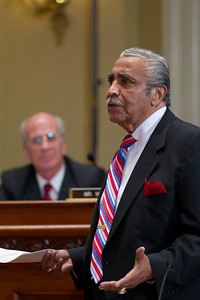 Rep. Charles Rangel (D-NY) delivers his opening remarks at the start of his ethics trial. He later abruptly walked out after the House Ethics committee refused to delay the proceedings. Rangel argued in his opening statement that he did not have enough time to find new legal representation. Rangel faces charges relating to13 counts of fundraising and financial conduct that allegedly violated House rules. The trial took place in the Longworth House Office Building on Capitol Hill  in Washington DC on November 15, 2010. (Photo by Jeff Malet)
