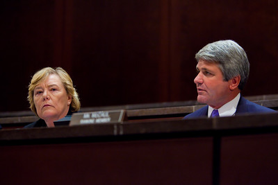 A House Ethics panel charged Rep. Charles Rangel (D-NY) with 13 counts of violating House ethics rules, placing the Democrat's 40-year political career in jeopardy. Chairman Zoe Lofgren (D-CA) pictured here with Rep. Michael McCaul (R-TX), made clear that she wants the committee to be unanimous, leaving little chance for agreement without Rangel capitulating on virtually all counts. On July 29, 2010 on Capitol Hill in Washington, DC. (Photo by Jeff Malet)