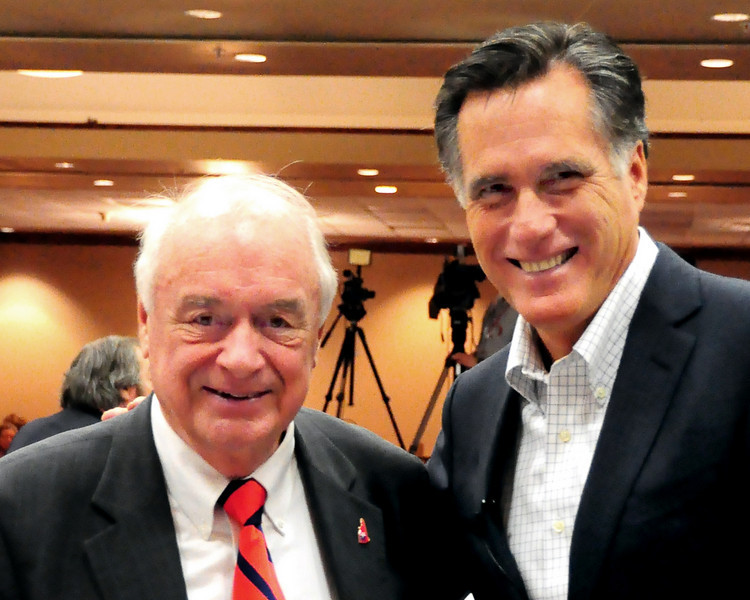 New Hampshire Executive Councilor Ray Burton, poses with Mitt Romney, former governor of Massachusetts, and 2008 Republican Presidential candidate, who was the keynote speaker at the Carroll County Republican Committee Lincoln Day Dinner, held at the Attitash Grand Summit Hotel, on March 5th, 2011.